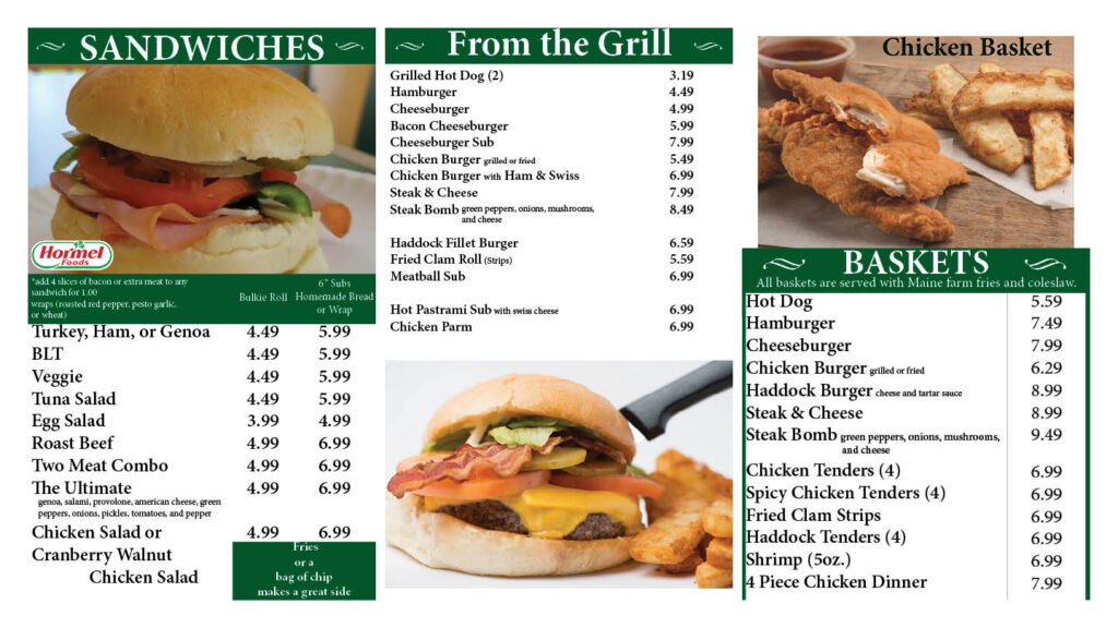 menu graphic of sandwiches from the grill baskets
