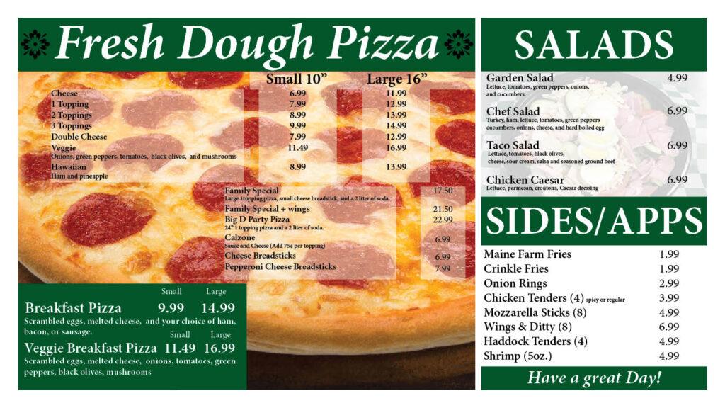 menu graphic of fresh dough pizza salads sides/apps