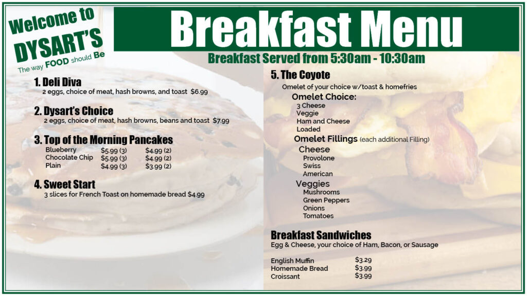 menu graphic of breakfast menu the way food should be